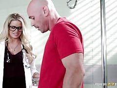 milf, blonde, glasses, uniform, deepthroat, stockings, doctor, hand job, at work, doctor adventures, brazzers network, johnny sins, jessa rhodes