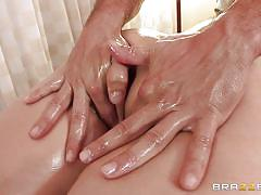 milf, tattoo, massage, deepthroat, blowjob, oiled, brunette, pierced, clit rubbing, dirty masseur, brazzers network, claire dames, ramon