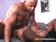 Pierced black pussy pounded hard