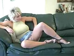 Gorgeous heather relaxes after a hard days work