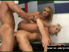 cumshot, facial, threesome, blondes, pussyfucking