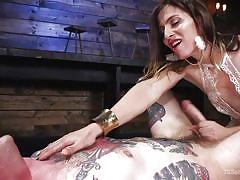 Sexy shemale mistress dominates her male slave