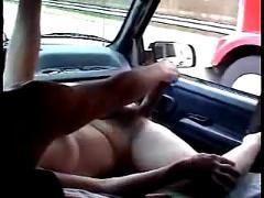 Maturbating inside a moving truck