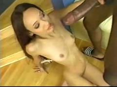 Skinny black girl riding huge black dic