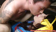Japanese cosplay newhalf fucked in tight ass