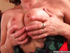 Hairy granny wants your cum on her face