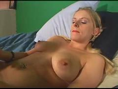 Hot young busty blonde with dildos!