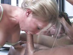 Intense deepthroat foursome blowjob