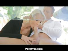 Blonde temptress bends hard for big cock