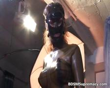 Kinky brunette slut gets in latex