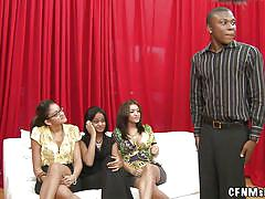 spanking, public, cfnm, milfs, brunette, brunettes, black guy, on couch, spectators, naked guys, cfnm show, haze cash