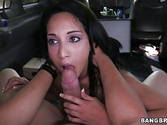 Hot booty brunette chick banged in the bus