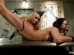Smoking hot blonde milf dominating a tied gorgeous brunette