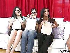 milf, public, glasses, cfnm, jerking, brunette, hard dick, naked guy, on couch, measuring, cfnm show, haze cash