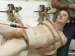 bondage, torture, public, gangbang, domination, blowjob, humiliation, twink, gay bdsm, gays, ropes, ricky sinz, holden phillips, bound in public, kinky dollars