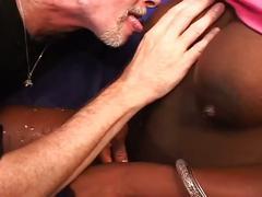 Lactating ebony babe fucked