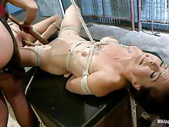 Hot milf has fun with younger sex slaves