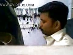 Mobile service shop scandal - owner and worker girl