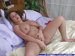 Busty chick brandy riding on dildo