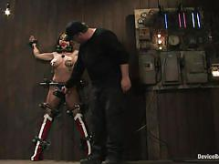 milf, bdsm, big tits, brunette, weights, restraints, ball gagged, metal clamps, device bondage, kink, christina carter