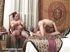 Devilish arab studs anal threesome fuck
