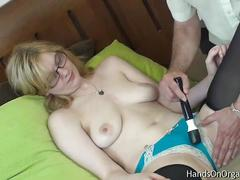 boobs, blonde, natural, fingering, rubbing, glasses, vibrator, masturbating, cunt, cumming, orgasm, massage, clit, snatch, help, jilling, cooch, hands-on