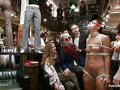 young, bondage, bdsm, public, blowjob, humiliation, natural tits, ropes, mouth gagged, electric wand, shibari, mischa brooks, princess donna dolore, mark davis, public disgrace, kinky dollars