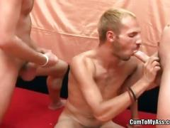 Flirting queers threesome bareback fuck