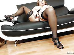 big tits, high heels, solo, vibrator, masturbating, fat pussy, bbw mature, black stockings, czech cougar, czech cougars, drahuse