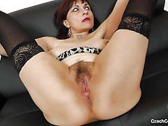 Hot mature masturbating with dildo