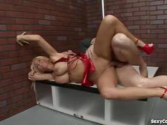 Hot blonde cougar stripper audition goes hardcore!