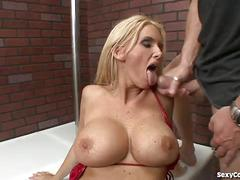 Hot blonde cougar stripper audition goes hardcore!