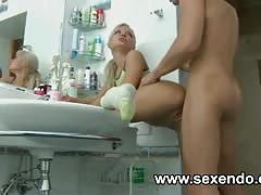 One super hot blonde teen with an ass to die for gets fucked