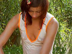 small tits, babe, skinny, masturbation, garden, brunette, outdoors, wet body, water hose, natasha shy, natasha shy, diesel action