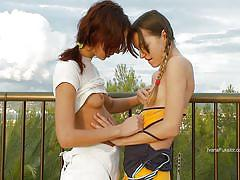 Ivana and natasha having some outdoor fun