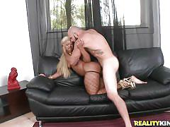 Big ass slut taking a big cock on the couch