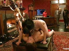 milf, tattoo, blonde, threesome, bdsm, strap on, lesbian domination, brunette, anal insertion, collar, on table, chains, aiden starr, ariel x, katharine cane, the upper floor, kinky dollars