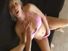 Beautiful mature - oiled cleavage & handjob in bikini