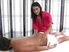 Babe gives lesbian massage