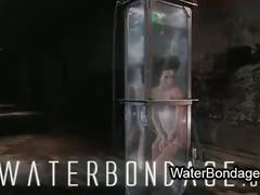 Crotch roped suspended babe water bondage