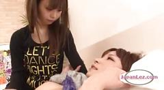 Asian girl getting her hairy pussy fingered patting...