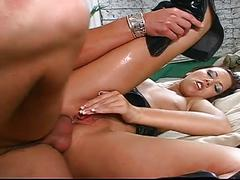 Juicy oral and anal play with brunette