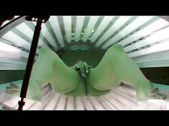 Sunbed tanning masturbation session 6