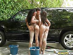 Round asses bitches washing a car in their way