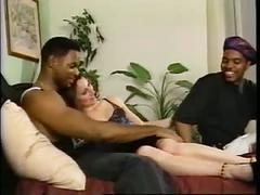 2 black guys fuck 2 white girls in orgy
