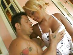 Pretty blonde shemale sucked by brunette gay