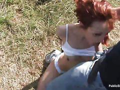 Redhead slut is brought to her knees