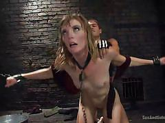 Enchained blonde slut is fucked hard