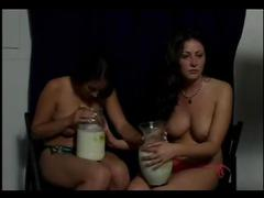 Topless girls vomit puke puking vomiting gagging