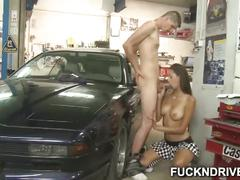 Teen slut fucked in a garage